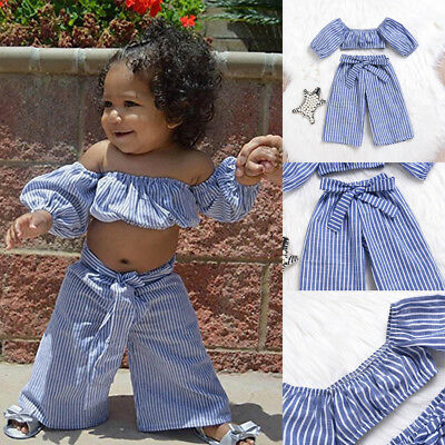 2Pcs Toddler Kids Baby Girls Off Shoulder Striped Top+Pants Outfits Set Clothes