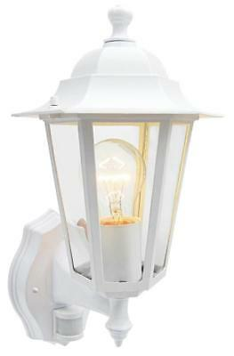Traditional 6 sided wall lantern with PIR sensor comes in white FREE LED BULB