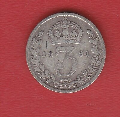 Great Britain 3 Pence 1891 Silver