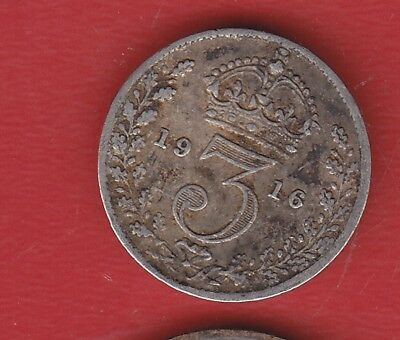Great Britain 3 Pence 1916 Silver