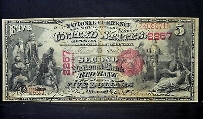 1875 $5 National Bank Note ✪ 2Nd National Bank Of Red Bank ✪ Nj 2257 ◢Trusted◣