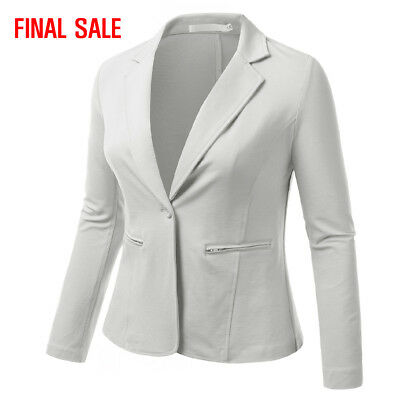 [FINAL SALE]Doublju Womens Long Sleeve Zipper Pocket Slim Fit Plus Size Blazer