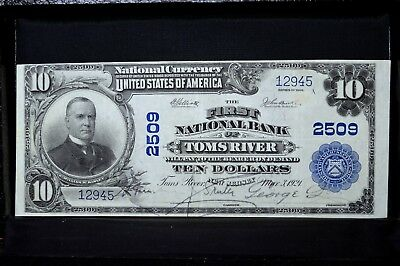 1902 Pb $10 National Bank Note ✪ 1St Ntl Bank Of Toms River ✪ Nj 2509 ◢Trusted◣