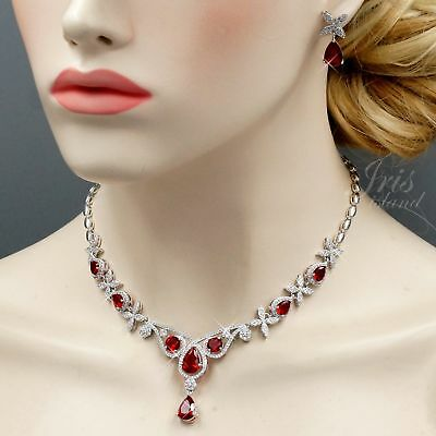 White Gold Plated Red Cubic Zirconia Necklace Earrings Wedding Jewelry Set 02799