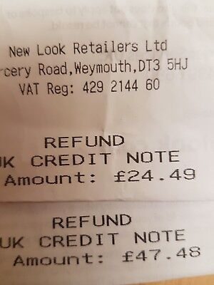 £71.97 new look credit note / voucher/ card