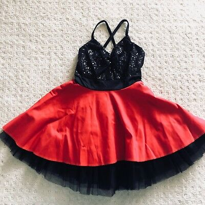 b80699751c4a2 RED AND BLACK Child's Dance Costume with Sequins size child's large ...