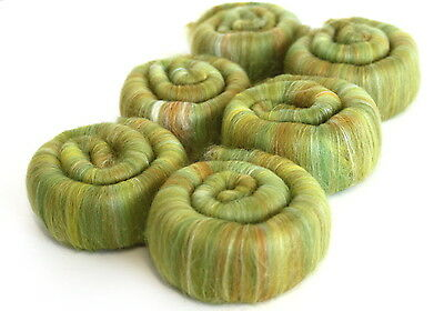 Hand Blended Rolags - Fields of Gold Fine Merino Wool & Silk Spinning Fibre Yarn