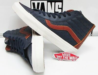 6b5f839ff4 VANS SK8-HI REISSUE Zip(Leather Perforated) Dress Blue VN-0A33T9MU3 ...