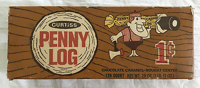 Vintage 60's 1970's Curtiss Penny Log Chocolate Caramel Candy Store Display Box