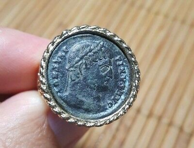 Ancient Roman Empire Bronze Coin of Emperor Constantine the Great Gold Tone Ring