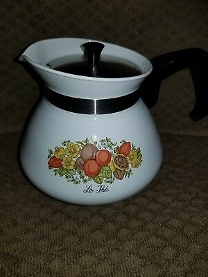 Corning Ware Spice Of Life Pattern 6 Cup Coffee Tea Pot Kettle W/lid P-104.