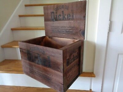 Vintage George Dickel Whisky ~ Tullahoma Tennessee ~ Hinged Wood Storage Crate