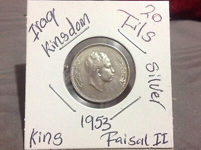 Iraq/ Iraqi kingdom 20 Fils 1953, King Faisal II Silver Coin.الملك فيصل الثاني