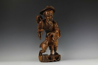 """A Chinese Wood Carving Fisherman Statue 20"""" High"""