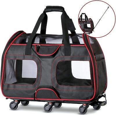 "WPS Airline Approved Pet Carrier with Wheels For Small Dogs and Cats 11""x22""x16"""