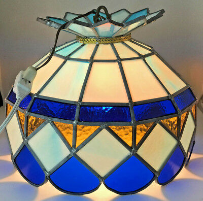 VintageTiffany Style Leaded Stained Glass 1 Light Pendant Swag Hanging Light