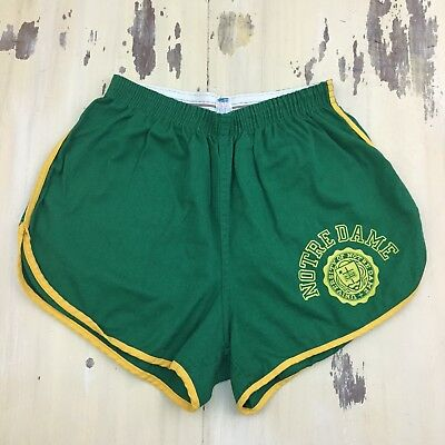 NOTRE DAME - CHAMPION Vtg Green & Yellow Track Gym Shorts, USA Made, LARGE