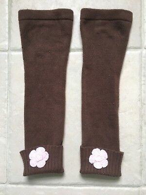 Hanna Andersson Girls Cotton Leg Warmers Size S, brown with pink flow