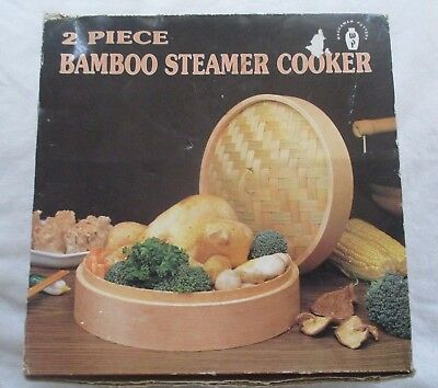WACCAMAW POTTERY M.BEACH S.C. Bamboo Steamer 2 Tier For Vegetables Fish Meats