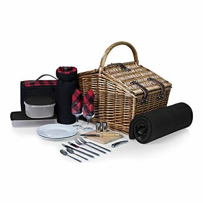 Picnic Time Somerset English-Style Double Lid Willow Picnic Basket with Service