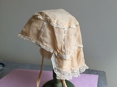 Antique Child's Handmade Peach Cotton Bonnet With Lace Detail & Organza Lining