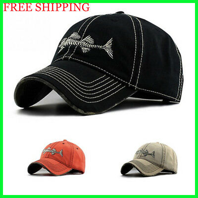 Fish Skeleton Hat Fishing Baseball Cap Trucker Hats For Men Casual Fish Bone Hat