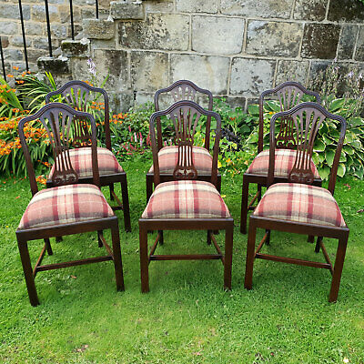 Hepplewhite Set of 6 Mahogany Tartan Weave Upholstered Dining Chairs Late C19th