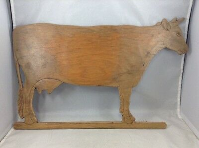 Vintage Wooden Cow Sign Folk Art Carved Wood Wall Mount Rustic Farmhouse Decor