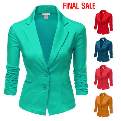 [FINAL SALE]Doublju Womens 3/4 Sleeve Slim Fit Shirring Sleeve Blazer
