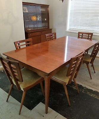 Mid Century Modern Dining Room Set Table 6 Chairs Hutch 1950s