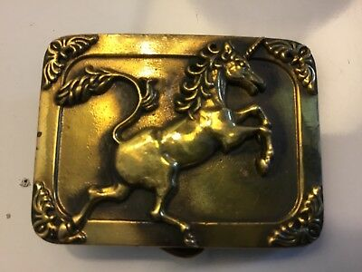 Vintage 1984 Uincorn Small Belt Buckle #5S01 Solid Brass Baron Buckles Preowned