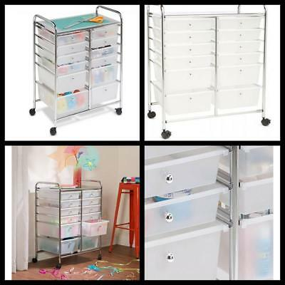 Doublewide Honey Can Do 12 Drawer Home Storage Shelves Rolling Cart Chrome  Clear