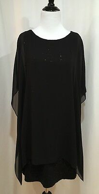 DKNY Donna Karen Black Sleeveless Sequin Dress With Attached Silk Shawl, Small