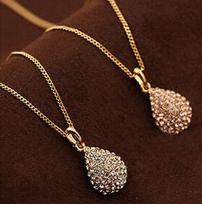 Fashion Women Gold Silver Plated Crystal Long Chain Statement Pendant Necklace