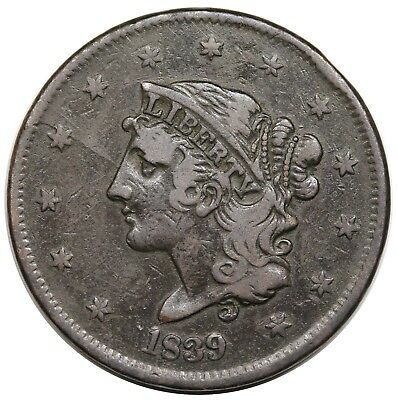 1839 Coronet Head Large Cent, Booby Head, scarce N-12, R.4, MDS, VF detail