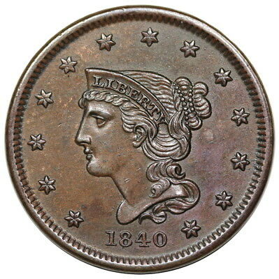 1840 Braided Hair Large Cent, Small Date, N-1, sharp AU-UNC