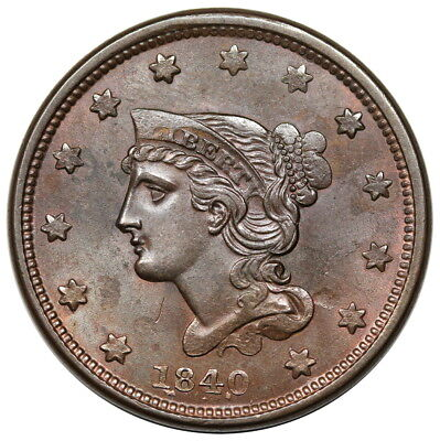 1840 Braided Hair Large Cent, Small Date, N-4, R.3, lustrous UNC