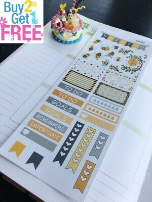 PP460 -- Yellow Bumble Bees Samples Planner Stickers for Erin Condren (28pcs)