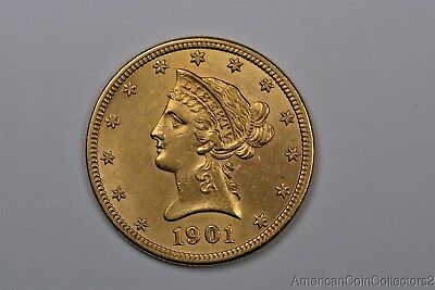 Lustrous 1901 Liberty Head $10 Dollar Eagle Gold Coin Look No Reserve   0560