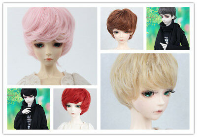 "1/4 BJD Doll Hair Short Wavy Curly Wig 7-8"" 6 colors Pink Red Brown Black Gray"