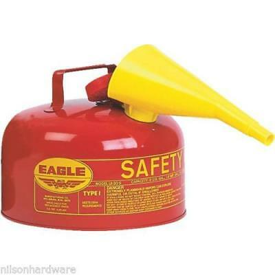 Type 1 Red Metal Steel Saftey Gas Fuel Can Container 2 Gallon w/ Funnel UI-20-FS