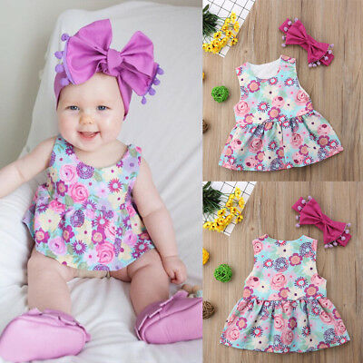 USA Floral Girl Princess Dress Kid Baby Party Sun Flower Summer Dresses Clothes