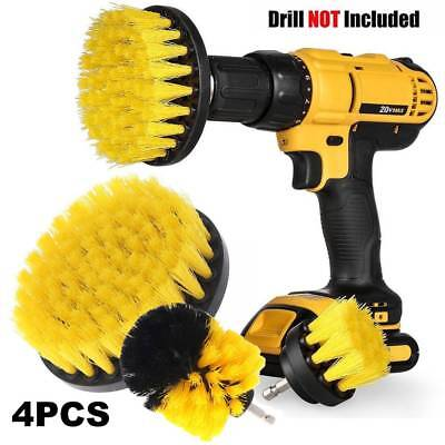 4Pcs Round Full Electric Bristle Drill Brush Set Rotary Cleaning Tire Scrubber