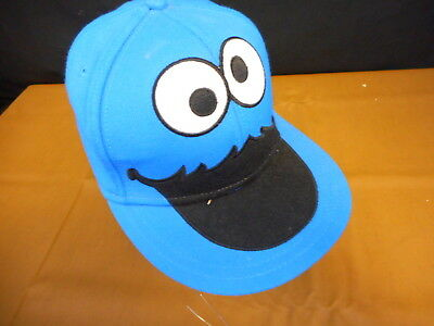 47014624c380 COOKIE MONSTER BIG Face Fitted Hat Adult L/XL Blue Flat Bill Cap ...