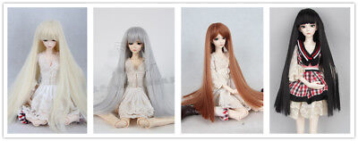 1/3 BJD Doll Hair Long Straight Wig 9-10'' Black Gray Brown Blond 4 colors
