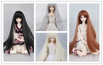 1/6 BJD Doll Hair Long Straight Wig  6'' Black Gray Brown Blond 4 colors
