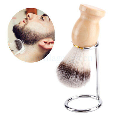 Men Wood Handle Shaving Beard Brush For Men Father Gift Barber Tool With Stand