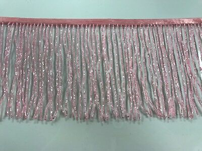 "By the Yard-6""-PINK Glass BUGLE Bead Beaded Fringe Lamp Costume Trim"