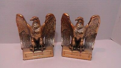 Vintage Bald Eagle Bookends 1776 Philadelphia Manufacturing Pmc 114B Heavy Brass