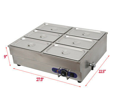 6-Pot Counter Top Warmer Bain-Marie Buffet STEAM TABLE FOOD WARMER 110V 1500W